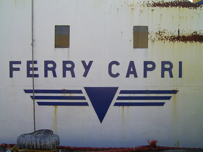 F/B FERRY CAPRI laid up in Castellammare di Stabia : name on side. From 1966 to 1980 the only ferry able to carry trucks between Napoli and Capri island. Then until 1994 continued to carry garbage, oil and special transports.