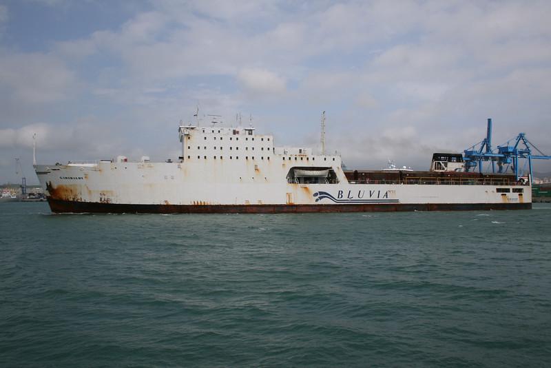 2008 - Trainferry GARIBALDI leaving Civitavecchia to Golfo Aranci. Rust everywhere.