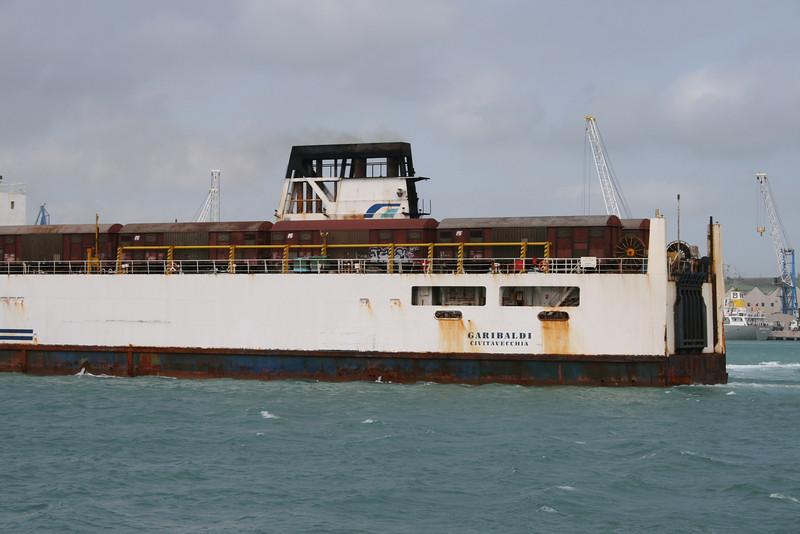 2008 - Trainferry GARIBALDI leaving Civitavecchia to Golfo Aranci. Very rusted hull.