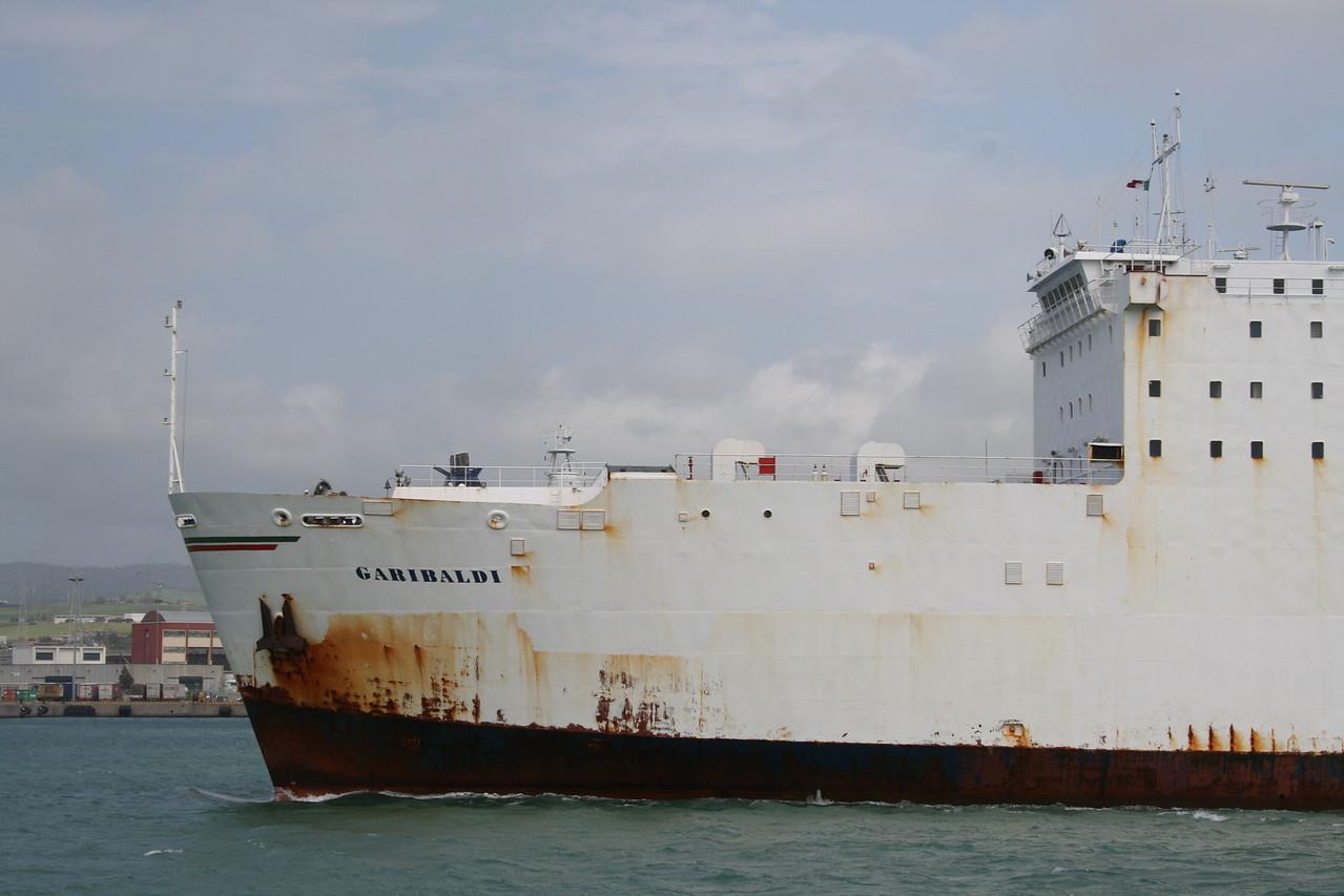 2008 - Trainferry GARIBALDI leaving Civitavecchia to Golfo Aranci. Rusted bow.