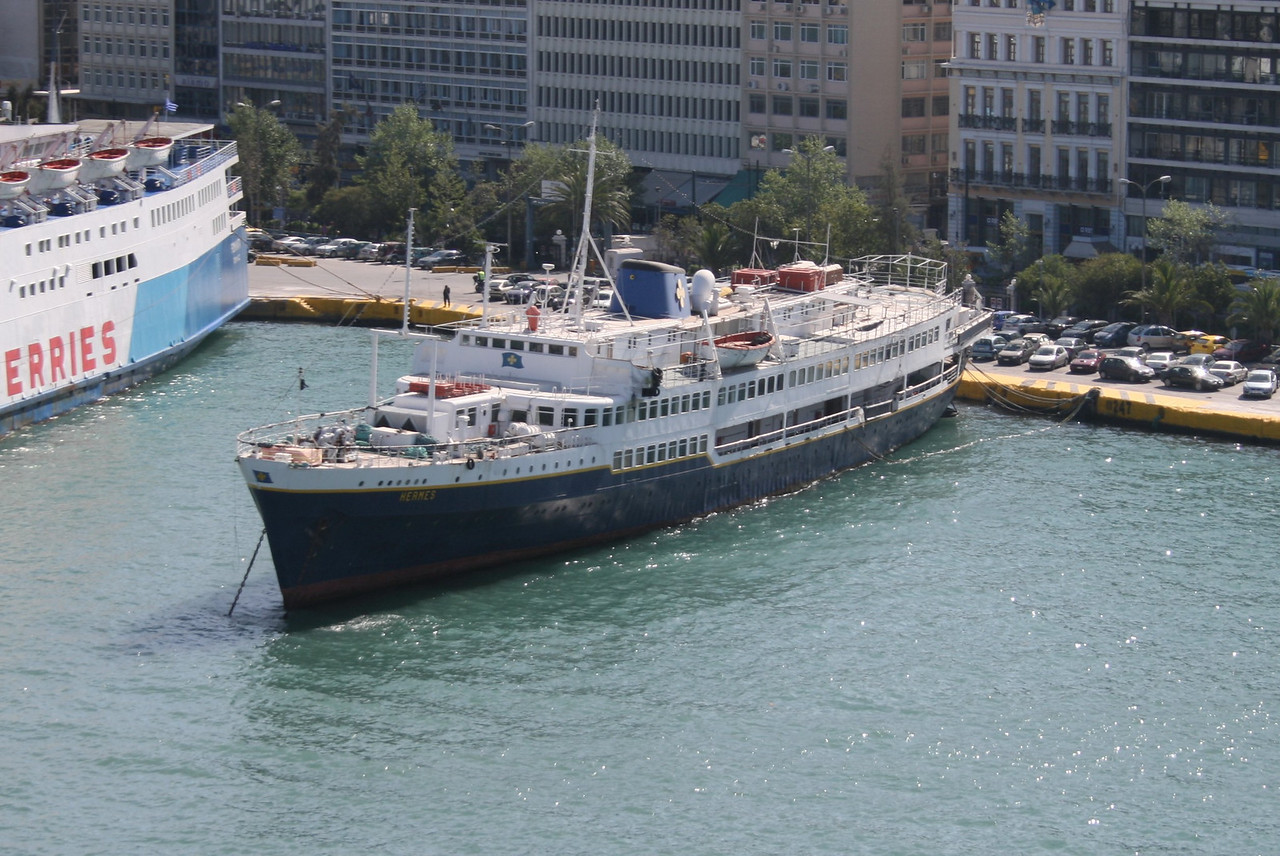 F/B HERMES, converted in cruise ship, laid up in Piraeus.