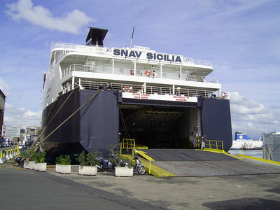 SNAV SICILIA moored in Napoli during the regular service between Napoli and Palermo.