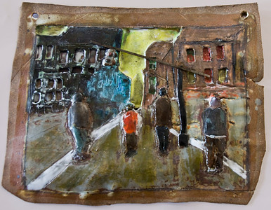 "Street Crossing, Broooklyn 12""w x 10""h"