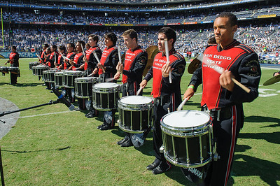 San Diego State University Marching Aztecs Drumline and Dance Team in exhibition for the San Diego Chargers halftime entertainment.