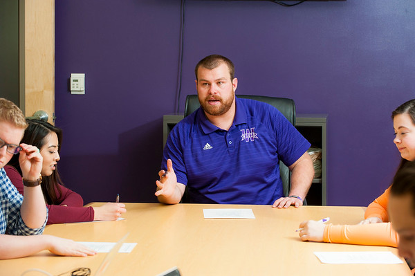 Cash Knight, Weber State's student body president, heads a meeting of the executive team of student body officers, in the student union building at Weber State on March 16, 2016.