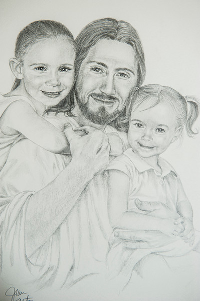 A sample of recent work from artist Jean Keaton, who specializes in creating drawings of Christ. Keaton recently made some drawings for the family of Marli Hamblin, who passed away recently after an accident in the driveway of her home in Syracuse. Photo taken on August 23, 2014 in Kaysville.(ROBBY LLOYD/Standard-Examiner)
