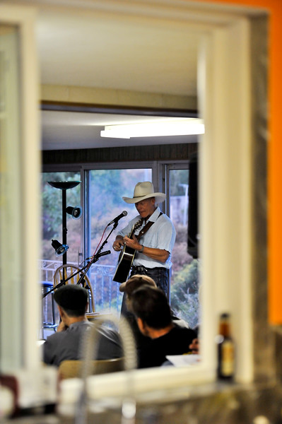 The Zen Cowboy, Chuck Pyle, performs acoustic folk songs for a full crowd at the Twitchell House on September 15, 2012. (LUCID IMAGES/Special to the Standard-Examiner)