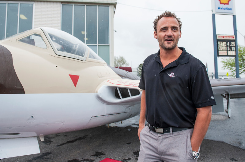 Cory Bengtzen, president of CB Aviation, discusses one of his favorite airplanes, a De Havilland Vampire British Fighter Jet that he is restoring and getting back up to racing condition at the Ogden Airport in Ogden, on May 15, 2015.