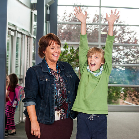 Dennise LeBaron poses for a photo with Brian Wood, an autistic student in her third grade class at Orchard Elementary School in North Salt Lake on April 25, 2016. LeBaron was recognized as the Autism Council of Utah's Teacher of the Year.