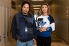 """Erik Carino, a student advocate at Roy High, poses for a photo with Celia Carrero, a sophomore he helped to bring back to school as part of Roy's """"cone project"""" where councilors and administrators try to find root causes of why students aren't attending school at Roy High School on April 25, 2016."""