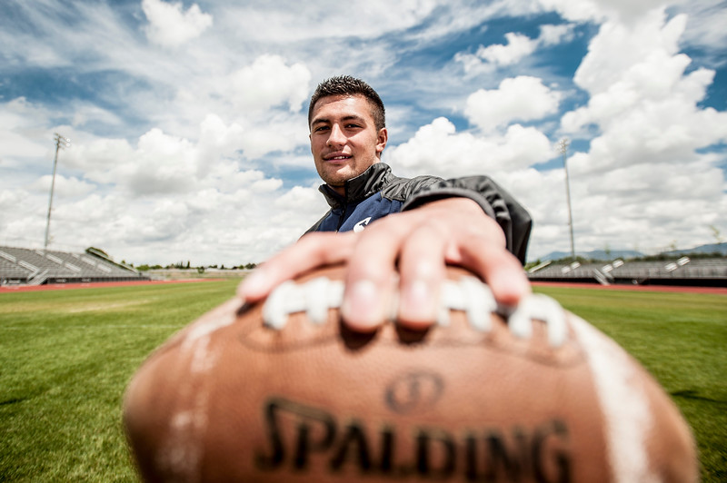Former football player and student at Syracuse High School, Kavika Fonua, poses for a photo. Next season Kavika will go on to play football as a freshman safety at Brigham Young University. Photo taken in Syracuse on June 18th, 2014. (ROBBY LLOYD/ Special to the Standard-Examiner)