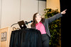 """Radia Perlman points to a diagram illustrating her point about engineers making technology unnecessarily difficult to use or understand during a presentation entitled """"Creating a Culture to Foster Creativity and Collaboration,"""" at Weber State University on February 26, 2015."""