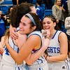 Lunenburg teammates celebrate following the Central Mass. D3 semifinal victory over Sutton at Worcester State University on Thursday, March 9, 2017. SENTINEL & ENTERPRISE / Ashley Green