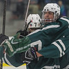 Oakmont's Greg Morin and Mike Amblo celebrate the Spartan's first goal ealry in the 1st period. SENTINEL&ENTERPRISE/ Jim Marabello