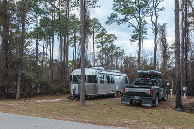 Our rig berthed in #16 - Sugar Hill Campground, St. George Island State Park, Florida.