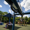 6/17/16 LEOMINSTER with story--A new zip line sits in the middle of  the Louis Charpentier Park in Leominster.   Sentinel & Enterprise photo/Jeff Porter