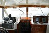 Classic fishing boat white and wood interior