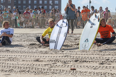 Heat 1 surfers, Logan Kamen from Manasquan, Tommy Ihnken of Asbury Park, and Simon Hetrick of MD. Sea Hear Now festival Day 1 in Asbury Park, NJ on 9/29/18. [DANIELLA HEMINGHAUS | STAR NEWS GROUP]