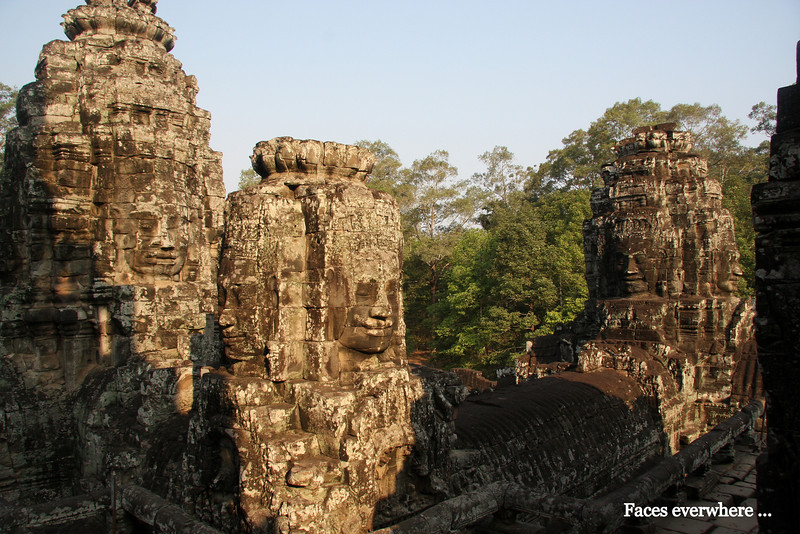 Angkor Thom  Bayon Temple, faces everywhere Angkor Thom, a short distance from Angkor Wat Temple, was the last capital of the Khmer Empire, was a fortified cit enclosing residences of priest, officials of the palace and military, as well as buildings for administering the kingdom. Feb 200