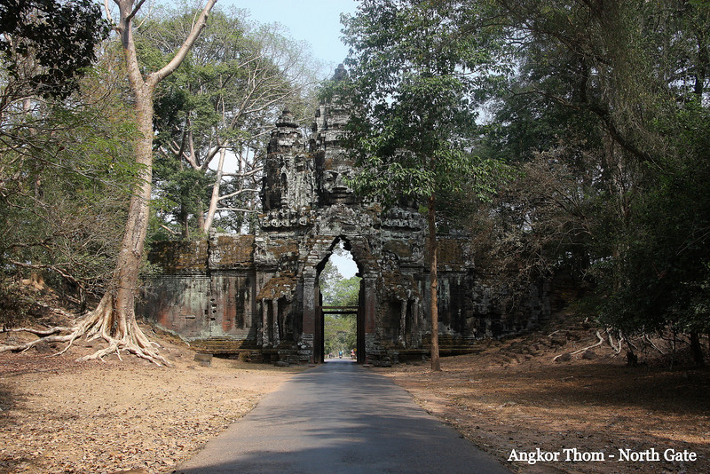 Angkor Thom North Gate Angkor Thom, a short distance from Angkor Wat Temple, was the last capital of the Khmer Empire, was a fortified cit enclosing residences of priest, officials of the palace and military, as well as buildings for administering the kingdom. Feb 200