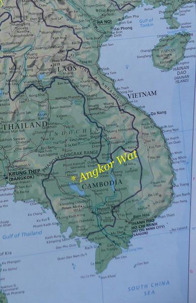 Angkor wat, Cambodia Travler Map, Feb 2009