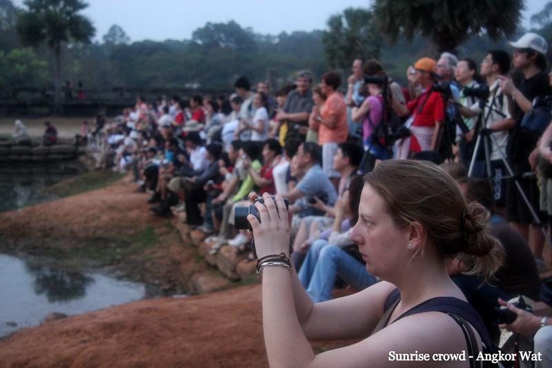 Sunrise crowd!  Angkor wat, Cambodia, Feb 2009