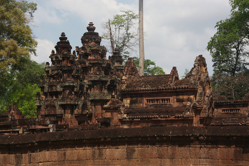 About 1hr from Siem Reap is Banteay Srei with it moat,  a 10th century Cambodian temple dedicated to the Hindu god Shiva, Feb 2009