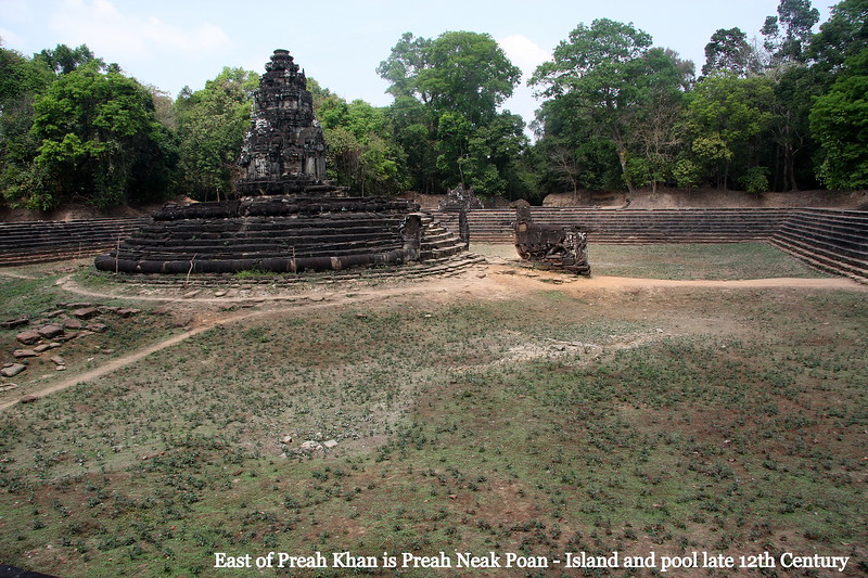 Preah Neak Pean is a late 12th century Buddhist temple consisting mainly of a large quadratic pool with an island with a tower at its centre. no water in the pool when visited in Feb 2009