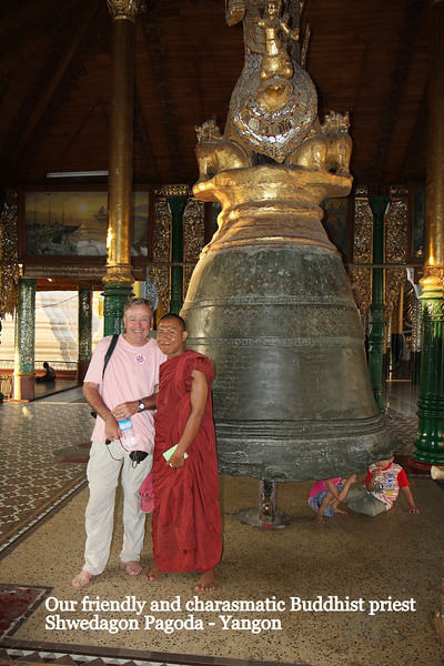 """Our friendly guide, we would meet him again a few weeks later while walking the streets of Yangon.The """"Golden"""" Shwedagon Pagoda in Yangon, Myanmar,  March 2009 Yangon"""