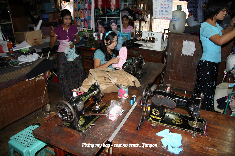Getting my bag repaired, Yangon, Myanmar,  March 2009