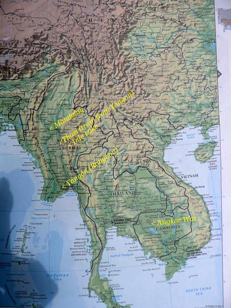 Myanmar travel map 2009