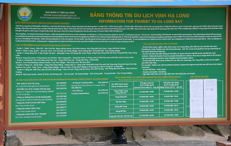 Halong Bay trip info, all regulated now by the local government, Nov 2013