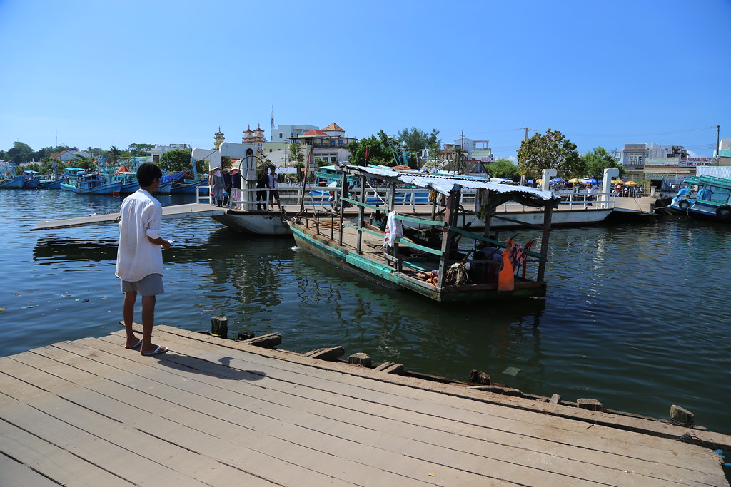 Opening and closing the bridge, across Duong Dong harbor, Phu Quoc Island Nov 2013