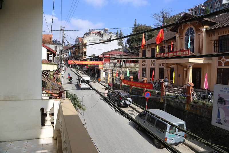 Elysian Hotel in SaPa, street view from balcony off the front room, Front rooms are very large and comfortable. Nov 2013