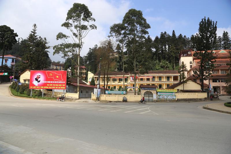 Ho Chi Minh billboard by schools, SaPa Nov 2013
