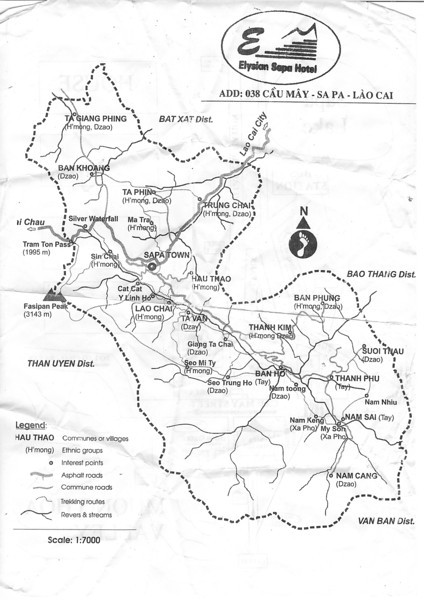 SaPa map. the bus from Lao Cai City (train station) is about 40mins. Nov 2013
