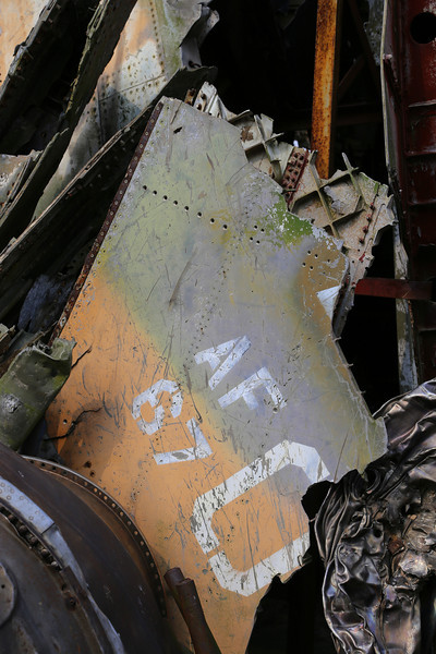 Aircraft remains forming the center piece of the Museum outside display. Nov 2013