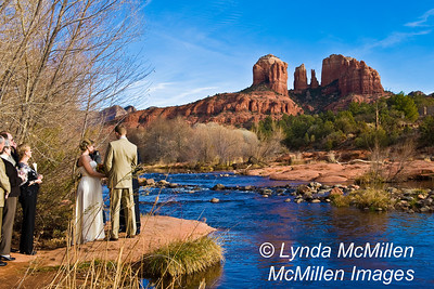 """Cathedral Rock oversees """"I Dos"""" on bank of Oak Creek."""