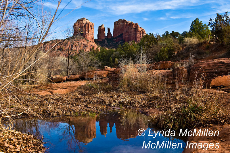 Cathedral Rock reflected in Oak Creek, #170