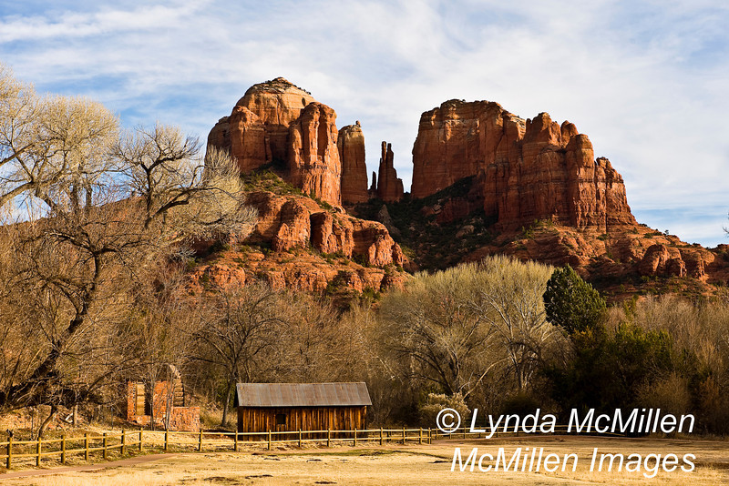 John Lee's 1800 Crescent Moon Ranch homestead and water wheel at base of Cathedral Rock.