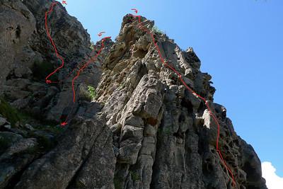 L'itinéraire vue du pied de la première longueur de la première tour.