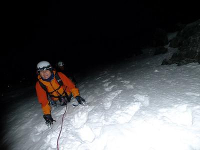 DŽépart du couloir... Dans la nuit aussi ! Notez la quantitéŽ de neige !
