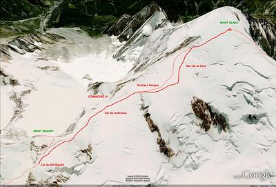 Du col du Mt Maudit au Mt Blanc, itinéraire.