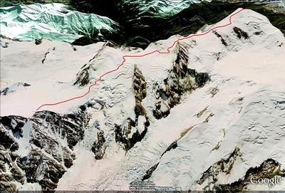 Mont Blanc voie des 3 Monts - Itinéraire