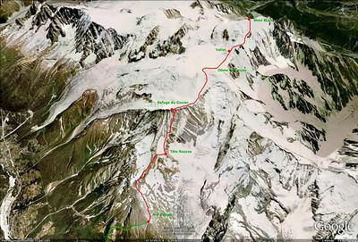 Voie Normale du Mt Blanc: Itinéraire.