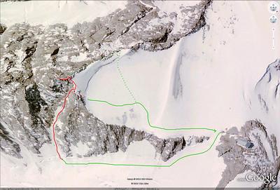 Petite Verte, Itinéraire. En rouge le couloir Chevalier - En pointillés la voie normale.