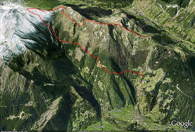 Bruson - Itinéraire pour rejoindre le point 2700m du Mt Rogneux depuis le sommet de la station. Du sommet de la pente, on vise un canyon évident dans lequel on peu s'engager tout droit... sortez-en assez vite, sous peine de repeauter !