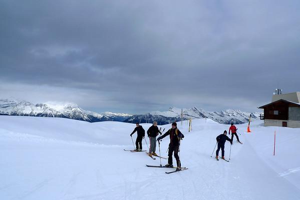 Départ du sommet du domaine skiable de Bruson, en face de Verbier...