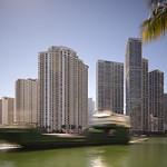 Ship in the Miami River motion blur