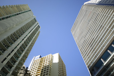 Wide angle of highrise architecture in the city